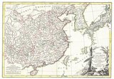 Rigobert Bonne's decorative map of China, Korea (Corea), Japan and Formosa (Taiwan). The arera covered extends from Tibet and Chinese Tartary east to Japan and south to Hainan.<br/><br/>  China is divided into various provinces with major cities, lakes, and riverways noted. Names Macao, Canton, Nanking (Nanjing), Jedo (Tokyo), Peking (Beijing) and many other cities.<br/><br/>   The lower right quadrant is decorated with an elaborate title cartouche showing a Chinese scholar or monk relaxing with a bird in a forest under a parasol. Drawn by R. Bonne c. 1770 for issue as plate no. 35 in Jean Lattre's 1776 issue of the Atlas Moderne .